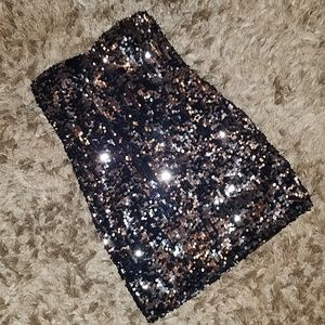 Strapless Sequin Dress Black and Silver